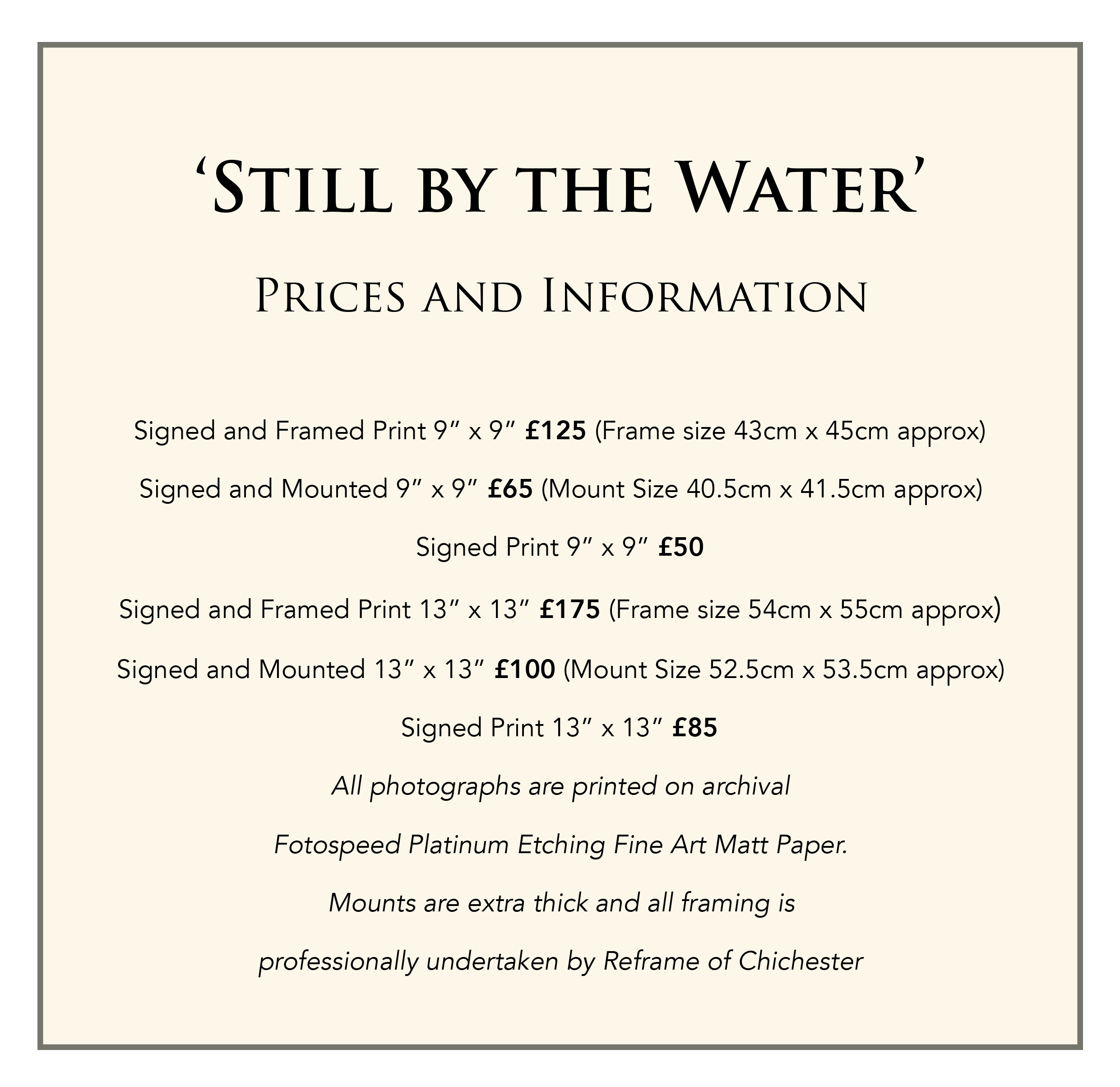 Still by the water prices for website